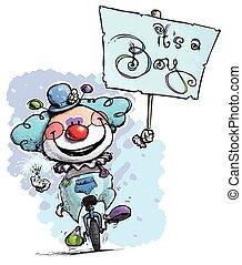 clown, auf, unicycle, besitz, ein, junge, plakat