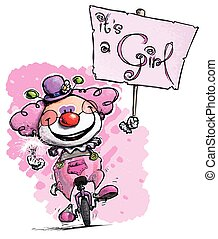 clown, auf, unicycle, besitz, ein, mädchen, plakat