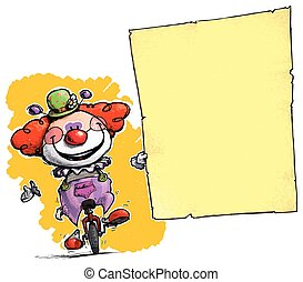 clown, auf, unicycle, besitz, invitation-announcement