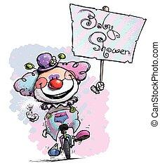 clown, auf, unicycle, halten babys, dusche, plakat