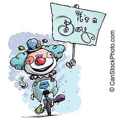 clown, auf, unicycle, hoding, ein, ihr, a, junge, plakat