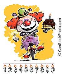 clown, auf, unicycle, tragen, a, geburtstagskuchen