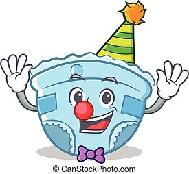 Clown baby diaper character cartoon