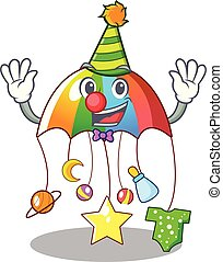 Clown baby playing with cartoon hanging toys