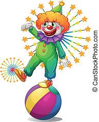 clown, balle, au-dessus, gonflable