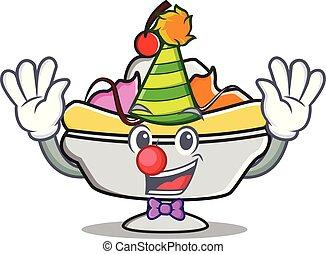 Clown banana split mascot cartoon vector illustration