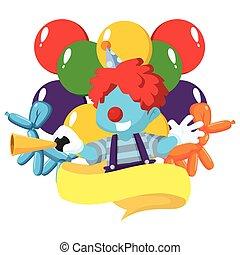 clown, bleu, garçon, dans, emblème