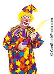 Clown Blows Up Balloon