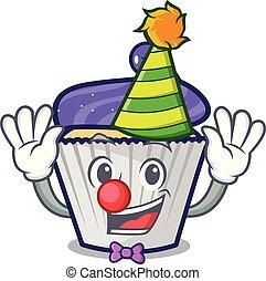 Clown blueberry cupcake mascot cartoon
