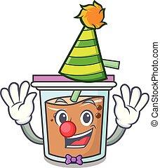 Clown bubble tea mascot cartoon