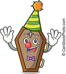 Clown coffin mascot cartoon style