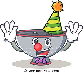 Clown colander utensil character cartoon vector illustration