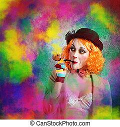 Clown colored smoke