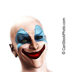clown, confondu, mal