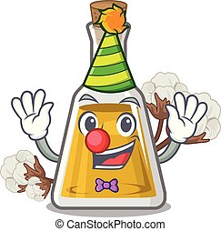 Clown cottonseed oil at the cartoon table vector ...