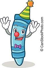 Clown crayon character cartoon style