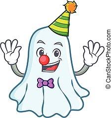 Clown cute ghost character cartoon