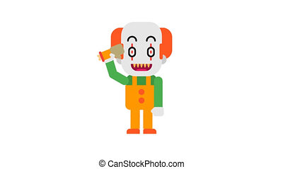 Clown dancing and waves hand. Halloween character. Alpha...