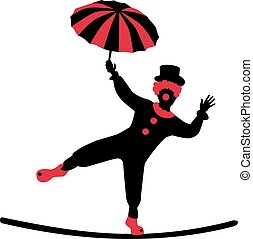 Clown dancing on a tightrope with umbrella