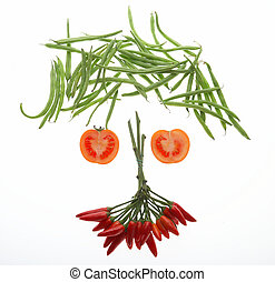 clown - different vegetables formed to a face - Gesicht...