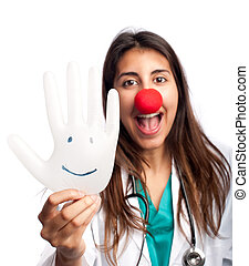 clown doctor having fun