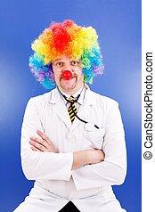 Clown doctor on blue