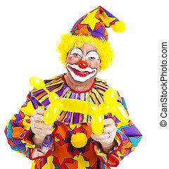 clown, doggie, balloon, heureux