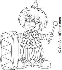 Funny clown beats a big drum, black and white outline vector illustration for a coloring book