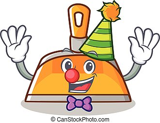Clown dustpan character cartoon style vector illustration