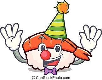 Clown ebi sushi mascot cartoon
