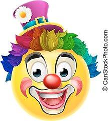 Clown Emoji Emoticon - A clown cartoon emoji emoticon smiley...