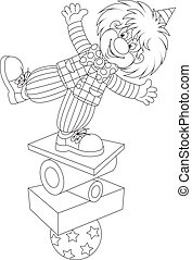 Funny clown balancing on several objects, black and white outline vector illustration for a coloring book