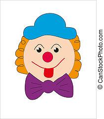 Clown face. Smiley. Vector.