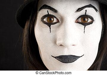 clown, figure, mime, femme, blanc, jouer, ou