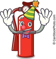 Clown fire extinguisher mascot cartoon