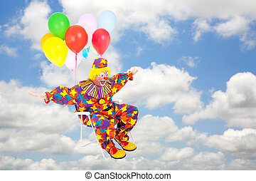 Clown Flying Through Sky