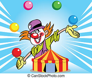 The illustration shows a clown who juggles balls against the background of a circus tent. Illustration done in cartoon style, on separate layers.
