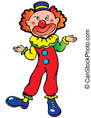 Clown. - Funny clown on a white background. Vector art-...