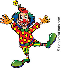 Clown. - Funny clown with blue hair on a white background. ...