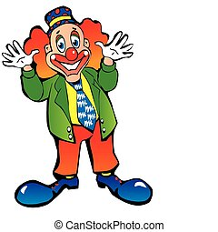 Clown. - Funny red-haired clown on a white background. ...