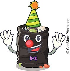 Clown garbage bag behind the character door