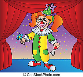 Clown girl on circus stage 1 - vector illustration.