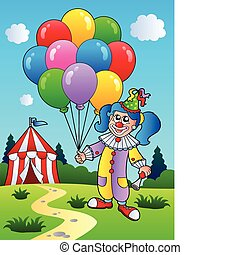Clown girl with balloons near tent