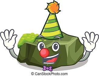 Clown green rock moss isolated on cartoon vector...