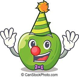 Clown green smith apple isolated on cartoon