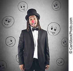 Clown grimacing - Man grimacing with hat and clown nose