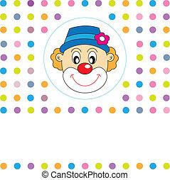 clown, gruß, card.