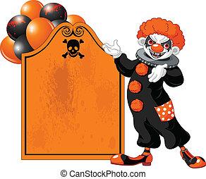 clown, halloween, skrämmande, invitera