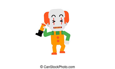 Clown happy angry stomping feet and waving hand. Halloween character. Alpha channel.