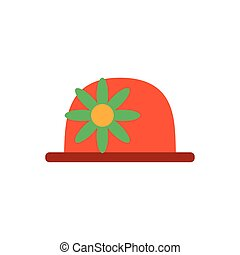 clown hat with flower, flat style icon